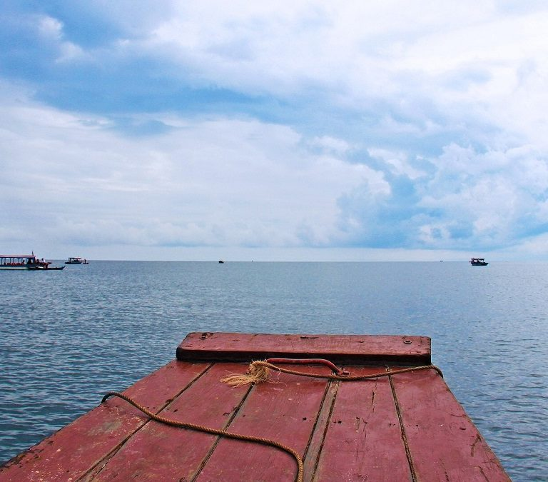 boats out on the tonle sap