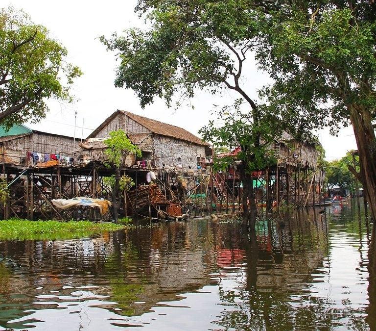 stilted houses on floating village tonle sap