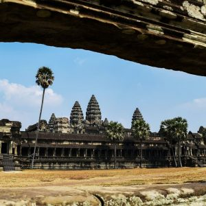unique image of angkor wat from temple wall