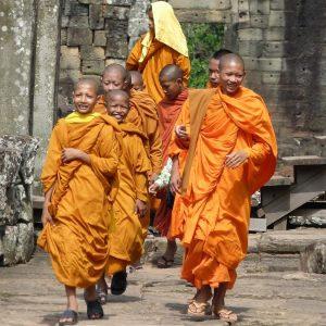 young monks at angkor wat temple
