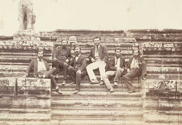 Members-of-the-1866-Mekong-Exploration-Commission-at-Angkor-Wat