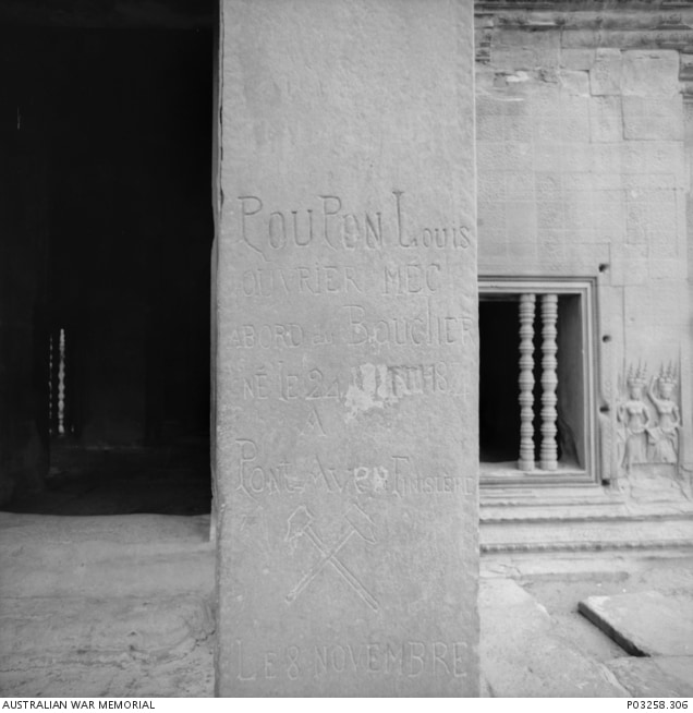 French graffiti on a column in one of the courtyard galleries of Angkor Wat 1993