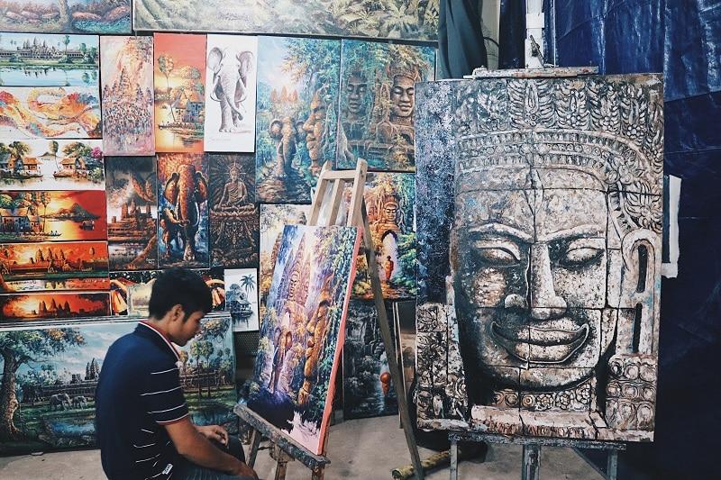 Cambodian artist at work