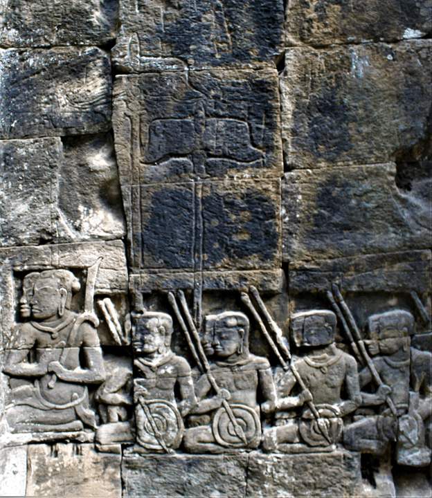 Bayon bas relief showing incomplete carvings