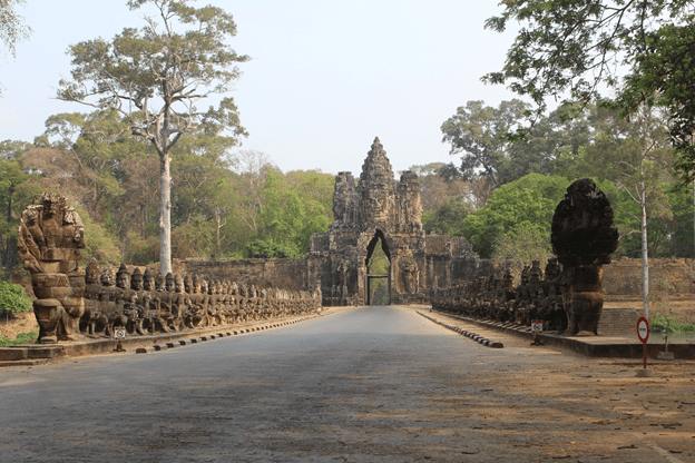 Angkor Thom South Gate. Note the Gods and Demons lining the bridge
