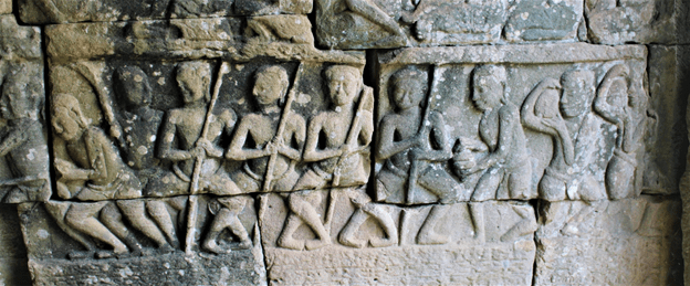 Bayon Bas Relief showing workers tamping the ground prior to construction.