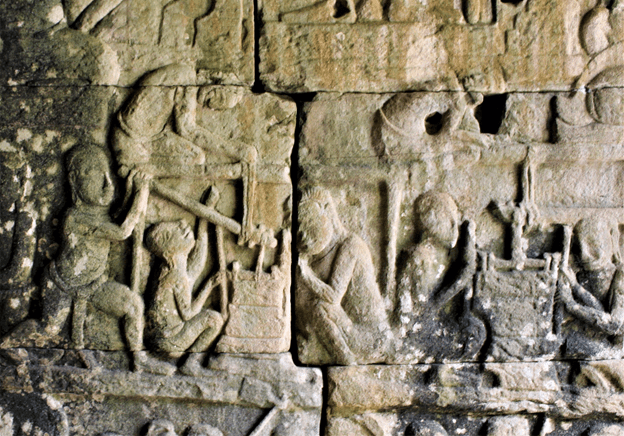 Bayon Bas Relief showing workers rubbing stones together to ensure a perfect join
